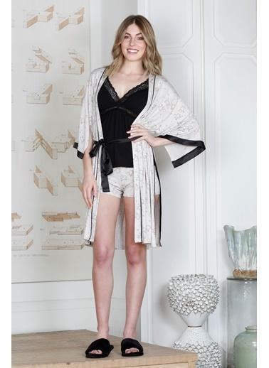 Hays Kadın Kuzu Desenli Sabahlıklı Şortlu Pijama Takımı Siyah